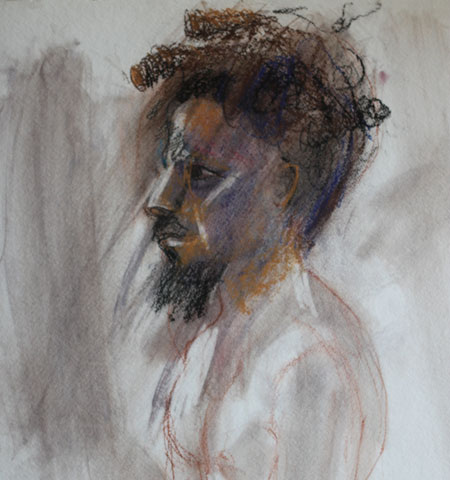 charcoal drawing of a black man
