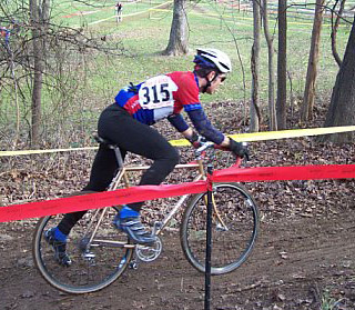 Doug dragging feet in cyclocross race