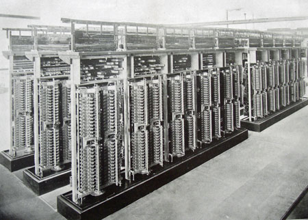 mechanical switchboard in San Francisco exchange c. 1900