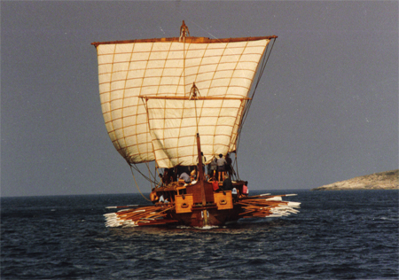 bow view of trireme Olympias under sail
