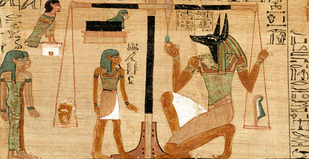 ancient Egyptian Book of the Dead -- weighing of the heart