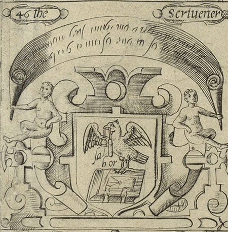 coat of arms for Worshipful Company of Scriveners, London 1596