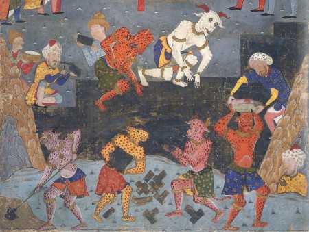 constructing Alexander's wall against Gog and Magog; from 16th-century Falnama