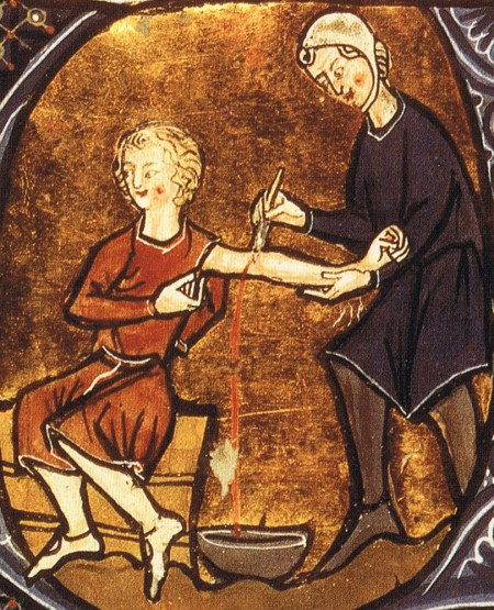 medieval physician performing blood-letting
