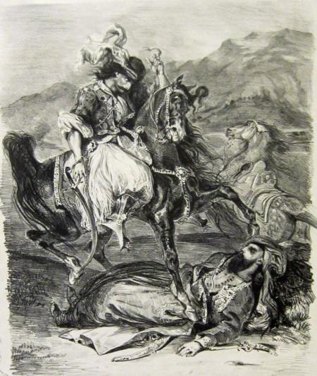 Delacroix lithograph of battle