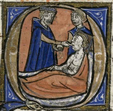 Hippocrates attending to bedridden patient