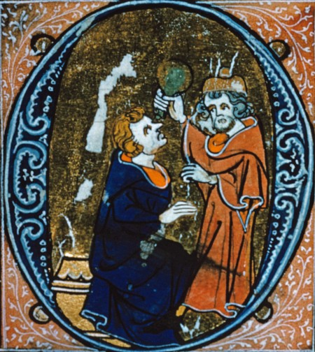 medieval physician putting drops in patient's eye
