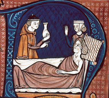 medieval physician treating a suspicious patient
