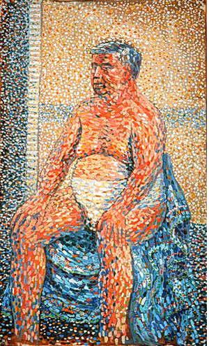 painting of man sitting on toilet