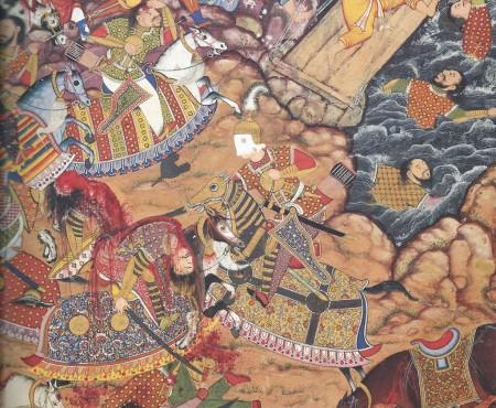 scene of battle, from Hamzanama