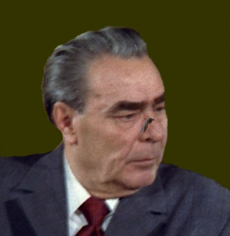 Leonid Brezhnev with a fly on his nose