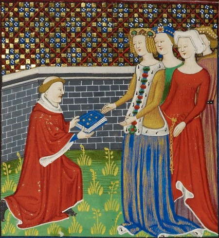 Boccaccio presents book to ladies
