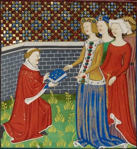 Boccaccio presents book to ladies