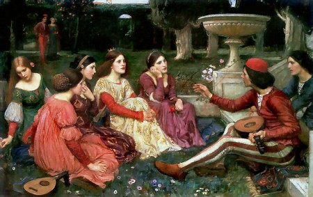 a man entertains five women in the Decameron's brigata
