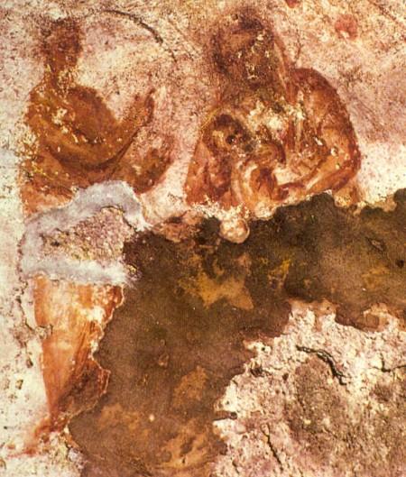 Mary nursing Jesus, fresco in the Catacomb of Priscilla