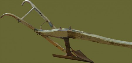 wooden plough for medieval plowing