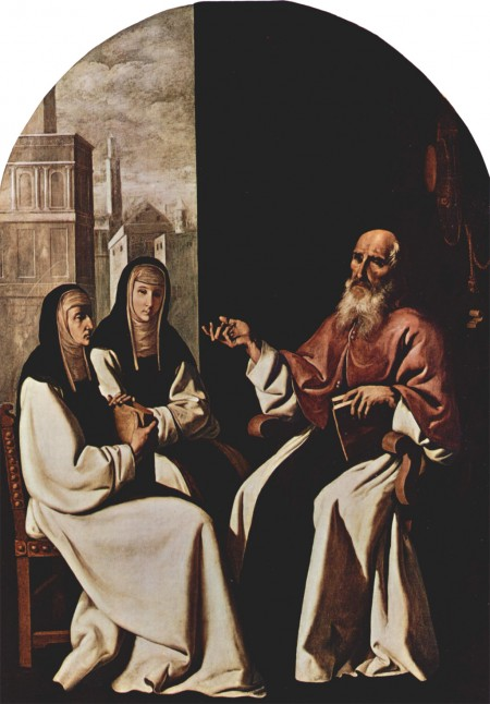 two women, Saint Paula and Saint Eustochium, with Saint Jerome