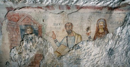 Thecla, Paul, and Theocleia in fresco in Cave of St. Paul, near Ephesus