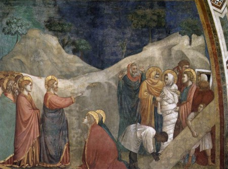 Lazarus coming out from the tomb