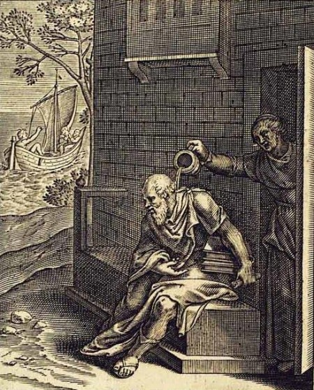 Xanthippe drenching Socrates in sop