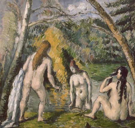 three nude, bathing maidens