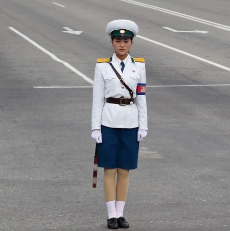 North Korean totalitarian traffic girl