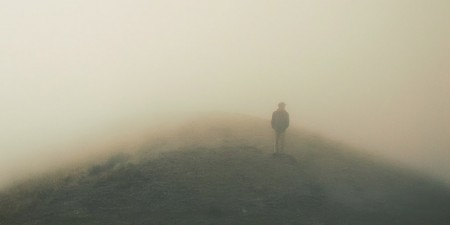 man lost in fog