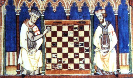 medieval knights playing chess