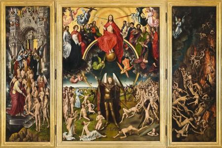 Saint Michael balancing souls in judgment