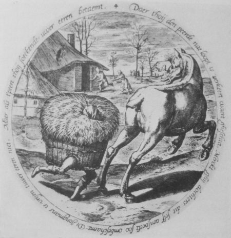 Pieter Bruegel, The Hay Chasing the Horse (engraving)