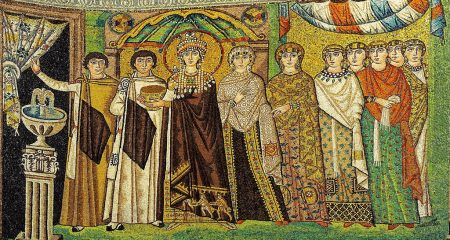 Byzantine Empress Theodora and her court