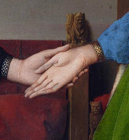 joined hands in the Arnolfini Portrait of Jan van Eyck