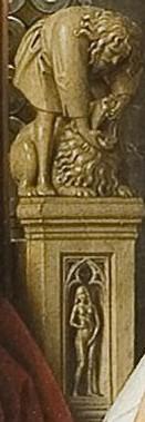 above Eve, Samson killing lion