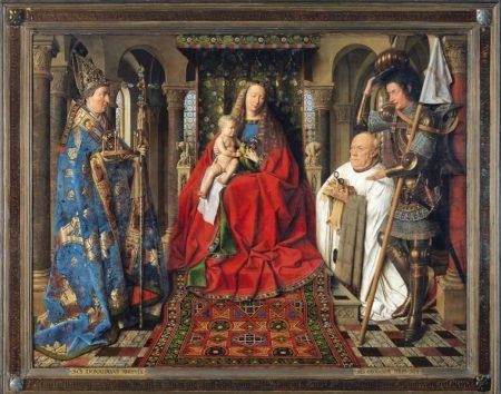 painting: Jan van Eyck, Virgin and Child with Canon van der Paele