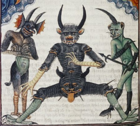 medieval demonology: Lucifer being judged