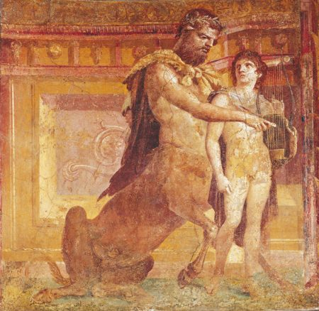 Chiron teaching Achilles to play lyre