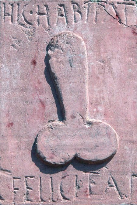 ancient Roman relief showing erect penis