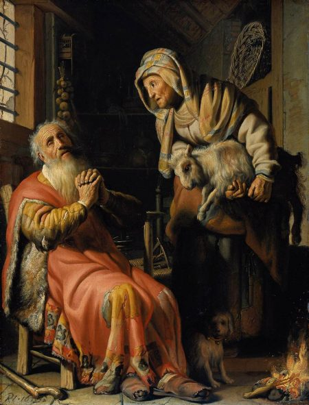 Tobit receives little goat from his wife Anna