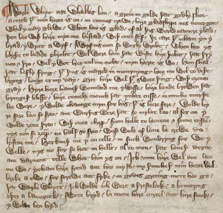 manuscript text of A wayle whyt ase whalles bon