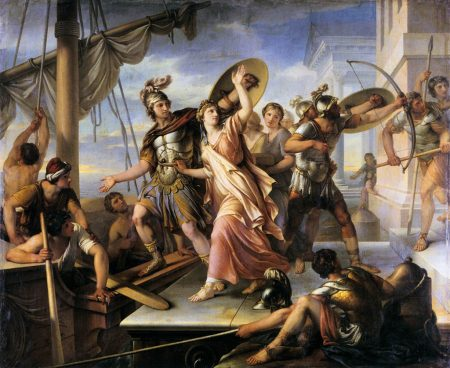 "Helen of Troy eagerly leaving with Paris (""The abduction of Helen of Troy"")"