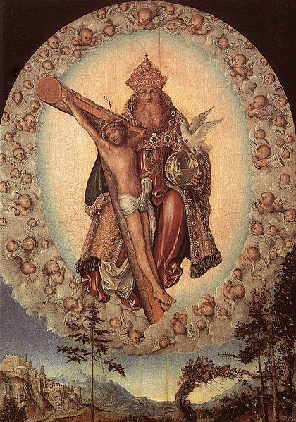 Holy Trinity in a glory of angels, by Lucas Cranach