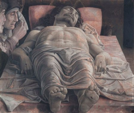 three mourners look upon dead Christ, by Andrea Mantegna