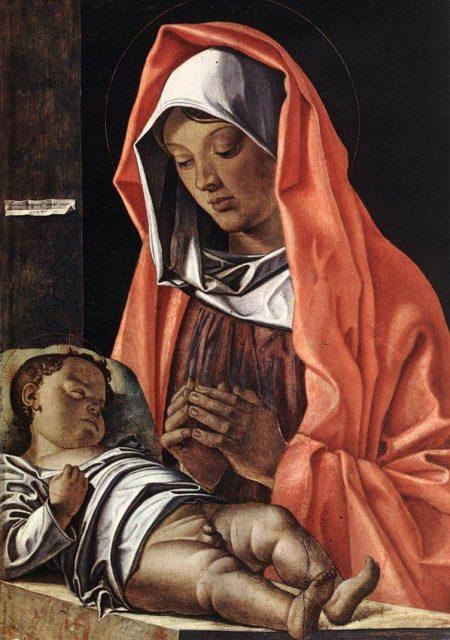 Virgin adoring baby Jesus with penis