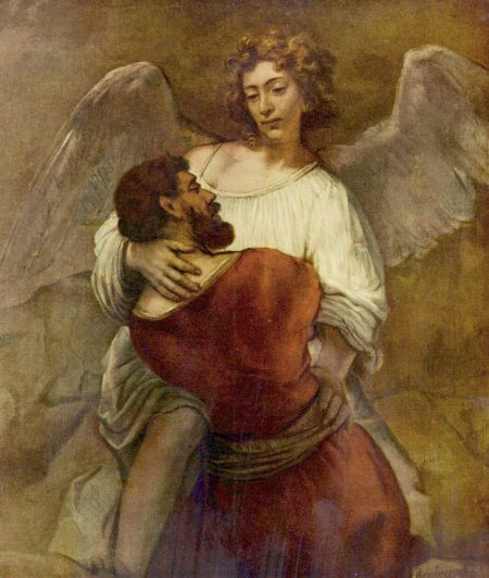 Jacob embracing angel, by Rembrandt