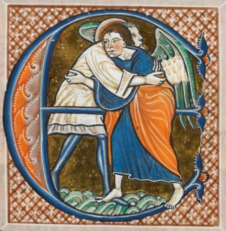 Jacob wrestling, 13th-century Exultate hymn
