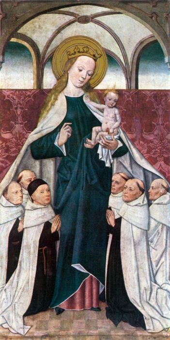 Mary, mother of Jesus, dominating little men