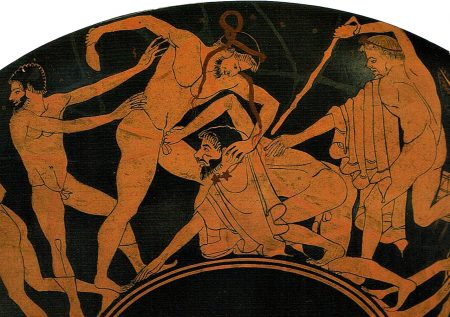 Kylix vase with man grabbing penis in brawl