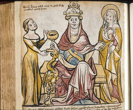 colored woodcut of Pope Joan