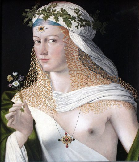 Bartolomeo Veneto's portrait of Lucrezia Borgia with a naked breast