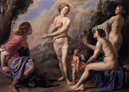 judgment of Paris with three nude goddess